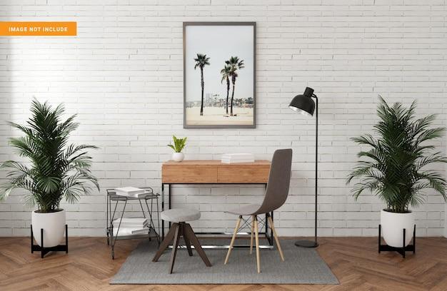 Photo frame mockup in living room 3d rendering