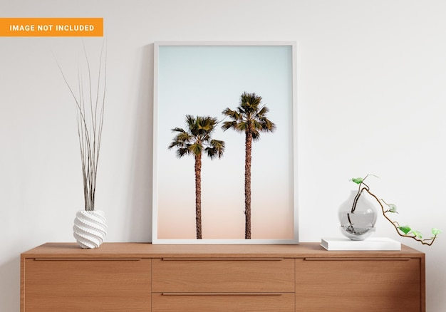 Photo frame for mockup in living room 3d rendering