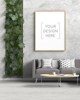 Photo frame mockup in living room interior