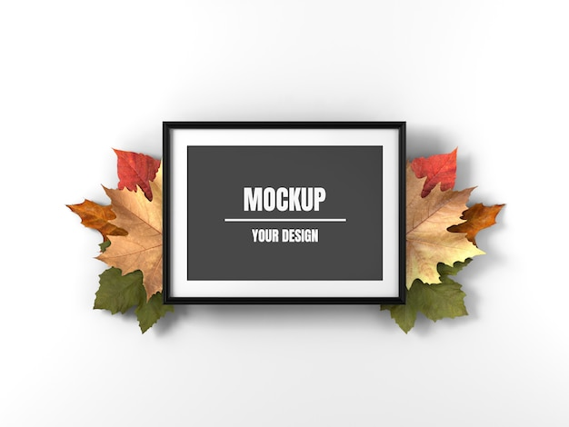 Photo frame mockup and maple leaves
