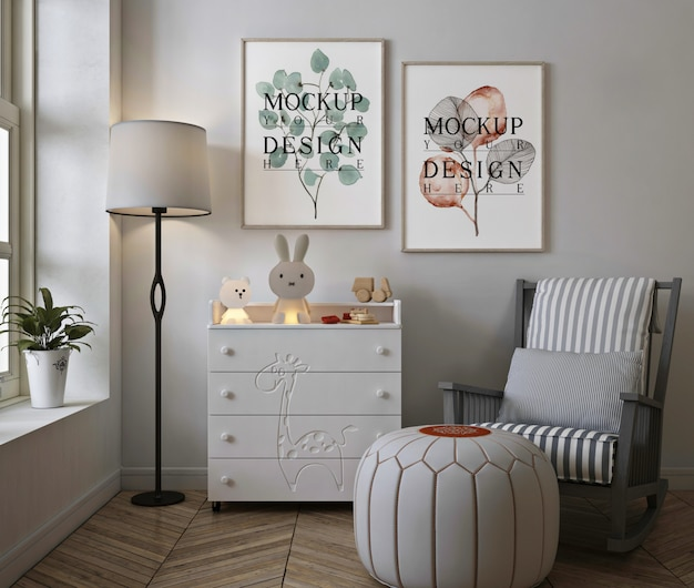 Photo frame mockup in modern baby bedroom with rocking chair