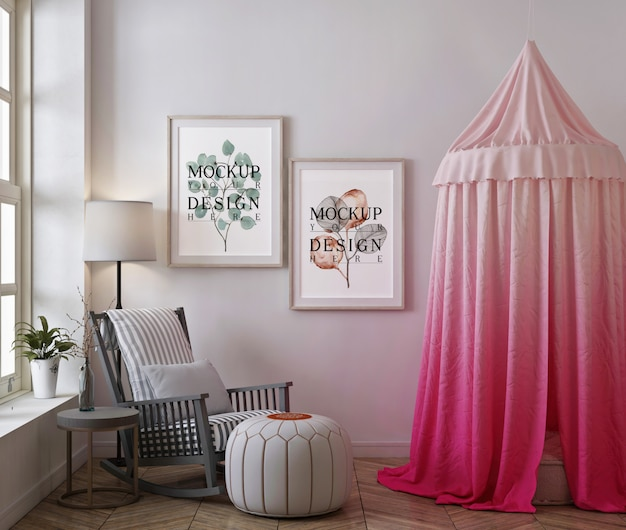 Photo frame mockup in modern baby bedroom with tent and rocking chair