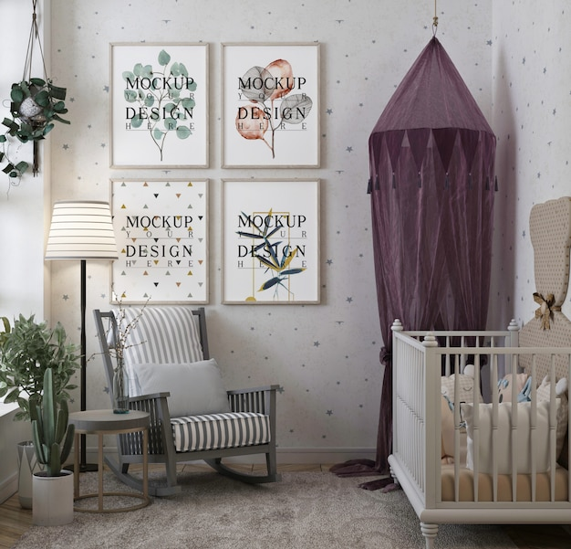 Photo frame mockup in modern classic baby bedroom