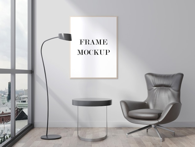 Photo frame mockup in modern interior with panoramic window