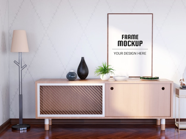 Photo frame mockup in the modern living room