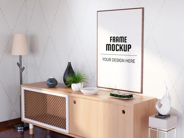 Photo frame mockup in the modern living room