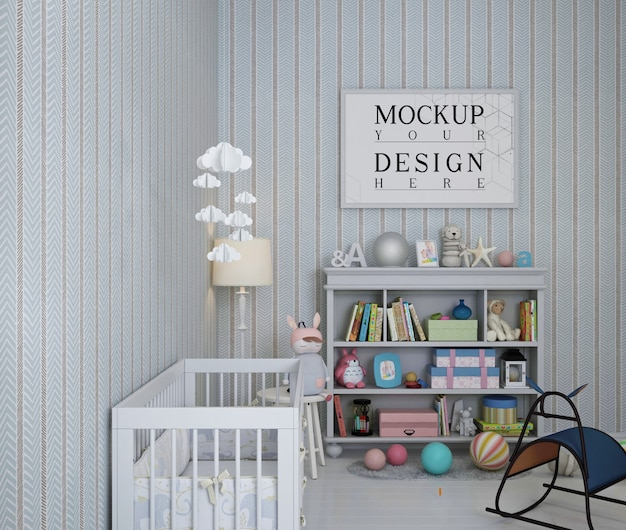 Photo frame mockup in nursery room with wallpaper