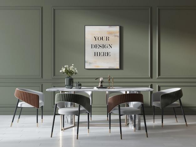 Макет фоторамки на зеленой стене в роскошном интерьере с мраморным столом и стульями