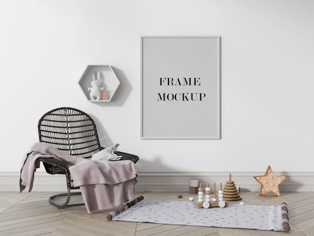 흰 벽에 사진 프레임 모형