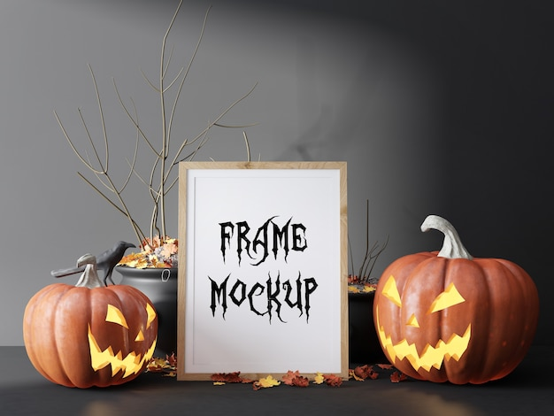 Photo frame mockup between pumpkins for halloween day
