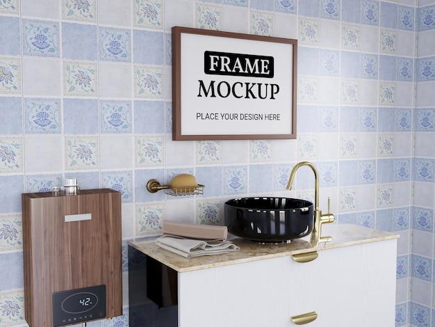 Photo frame mockup realistic in the bathroom