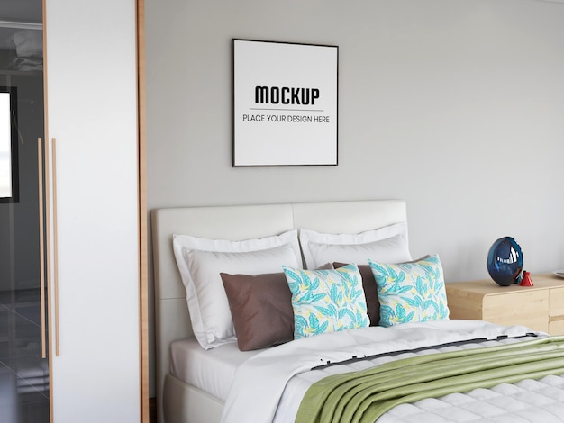 Photo frame mockup realistic in the bedroom