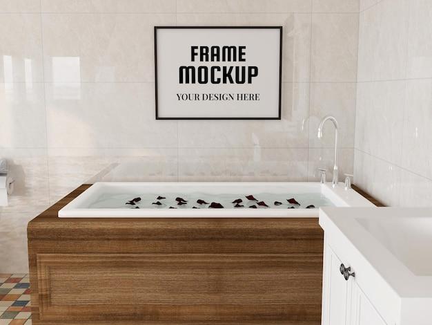 욕실에서 현실적인 사진 프레임 모형