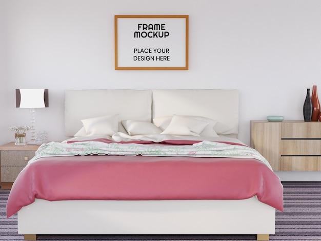 침실에서 현실적인 사진 프레임 모형