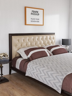 寝室でリアルなフォト フレーム モックアップ