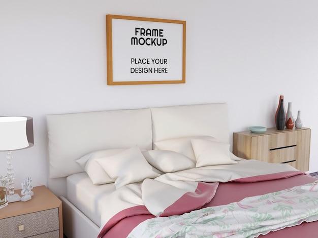 Реалистичная фоторамка мокап в спальне
