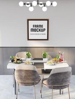 モダンなキッチンでリアルなフォトフレームモックアップ