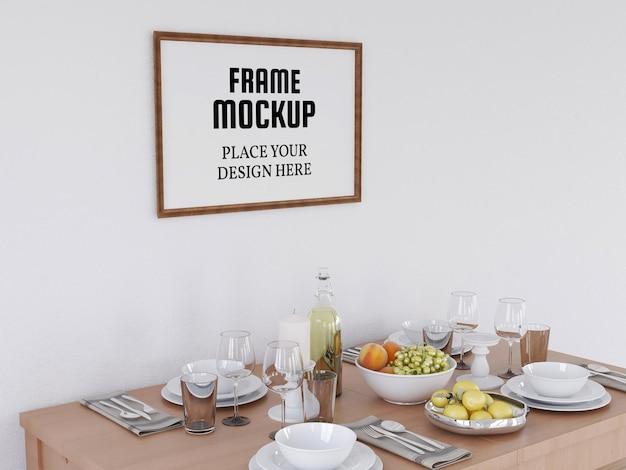 Реалистичная фоторамка mockup на современной кухне