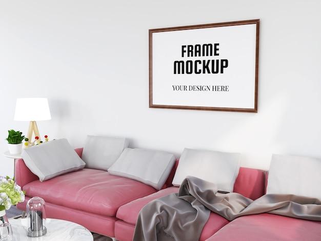 Реалистичный макет фоторамки в современной гостиной