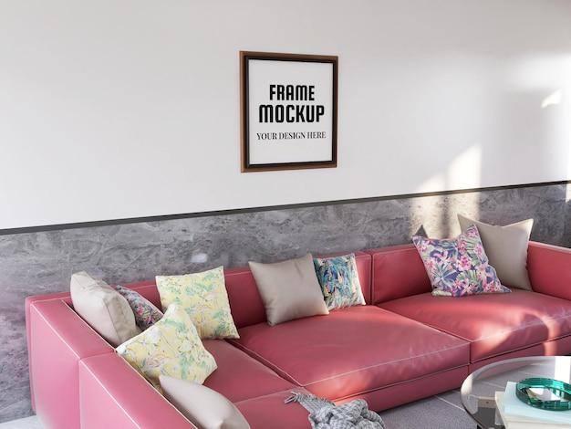 현대 거실에서 현실적인 사진 프레임 모형