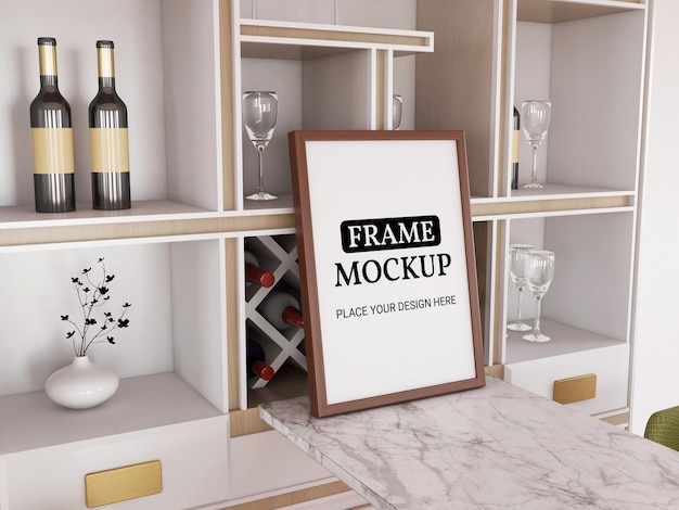 Photo frame mockup realistic in the kitchen