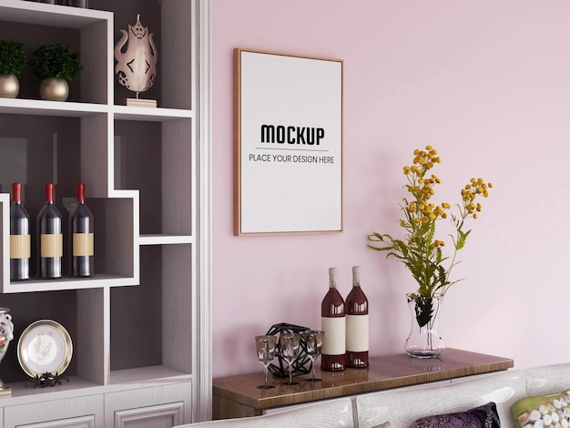 Photo frame mockup realistic in the living room