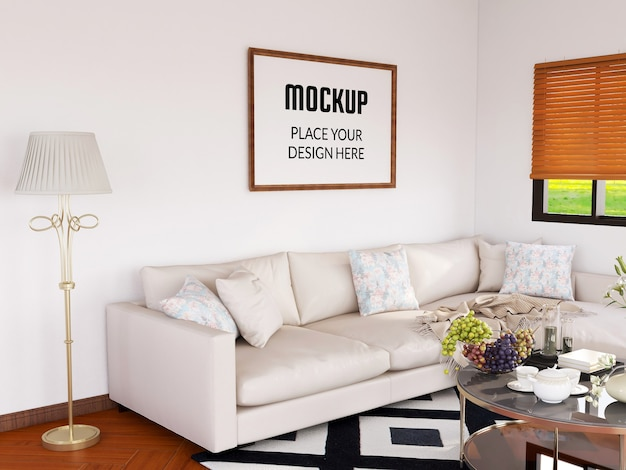 Photo frame mockup realistic in the modern living room