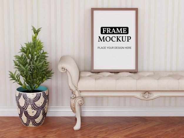椅子にリアルなフォトフレームモックアップ