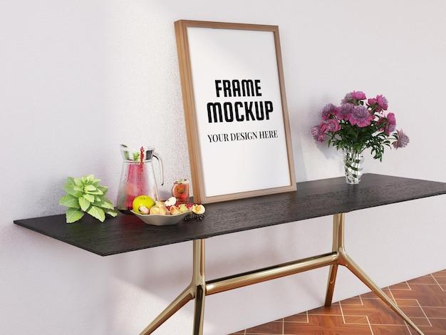 현대 책상에 현실적인 사진 프레임 모형