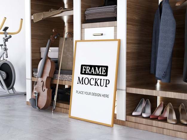 Photo frame mockup realistic on the tile floor