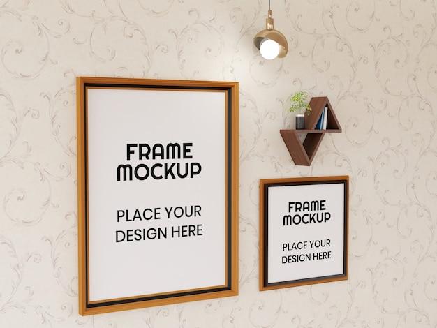 Photo frame mockup on the wall