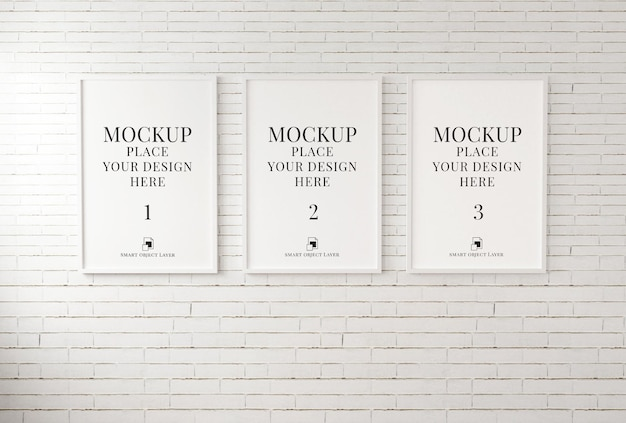 Photo frame for mockup on white brick wall 3d illustration