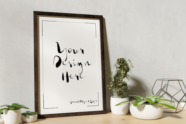 Photo frame mockup with decorative plants