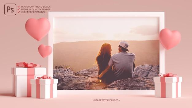 3d 렌더링에서 발렌타인 데이를위한 마음, 사랑 및 선물이있는 사진 프레임 모형