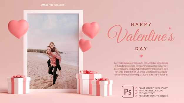 Photo frame mockup with hearts, love and gifts for valentines day in 3d rendering