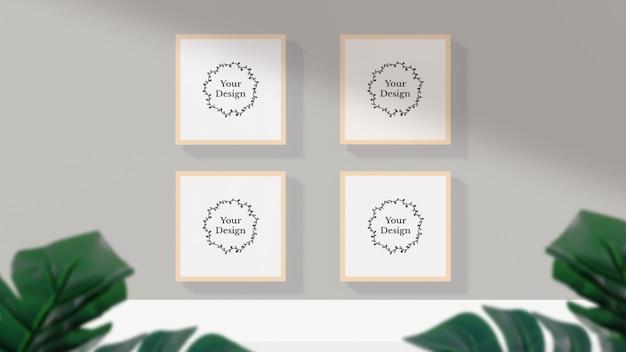 벽에 그림자가있는 사진 프레임 모형