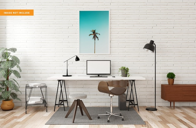 Photo frame mockup with table workplace in living room 3d rendering