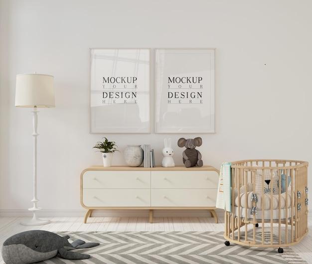 Photo frame mockups in modern nursery room