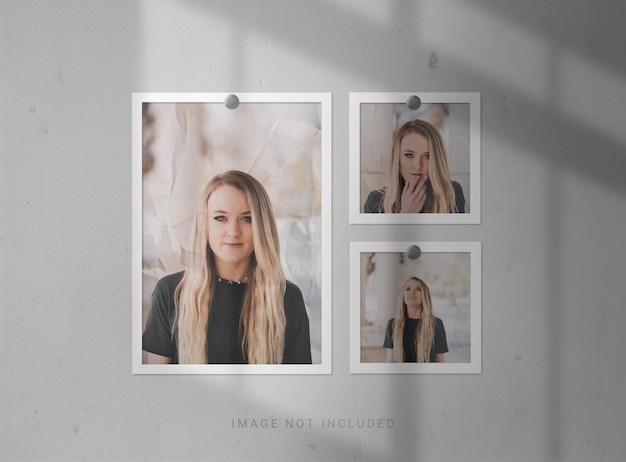 Photo frame mockups with paper effect