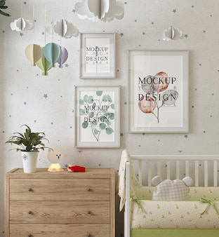 Photo frame in modern baby bedroom