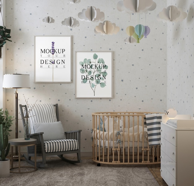 Photo frame in modern classic baby's room with rocking chair
