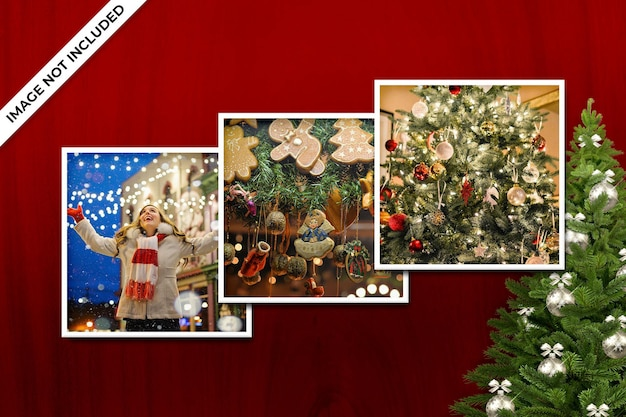 フォトフレームポラロイドテンプレートクリスマスと新年のモックアップpsd