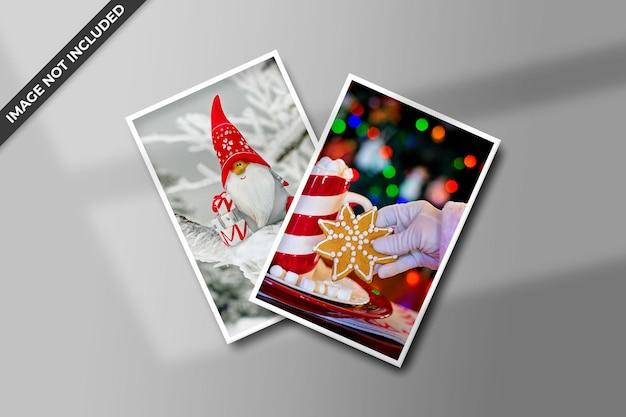 フォトフレームポラロイドテンプレートクリスマスと新年のモックアップ