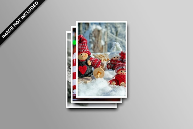 Photo frame polaroid template christmas and new year mockup psd
