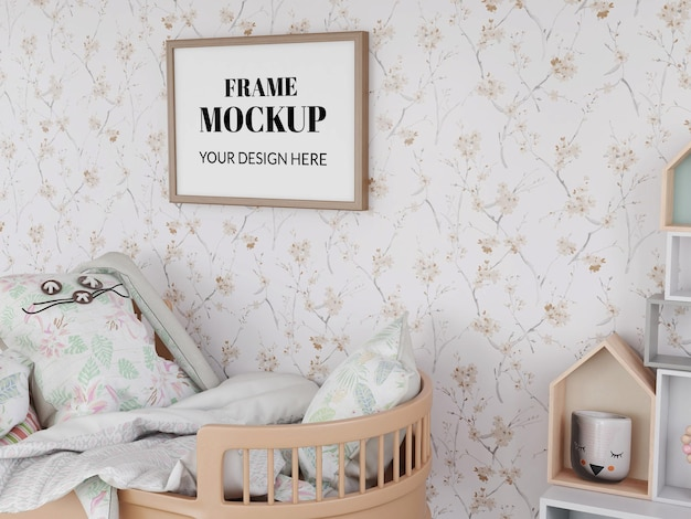 Photo frame realistic mockup in the bedroom