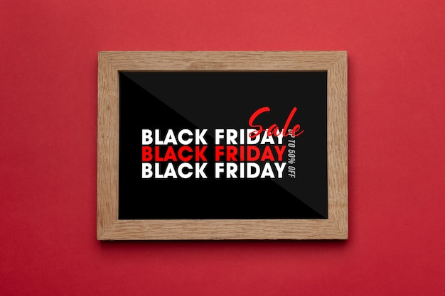 Photo frame with black friday campaign mockup