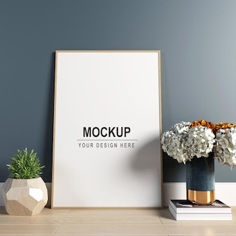 Photo frame with flowers mockup design in 3d rendering