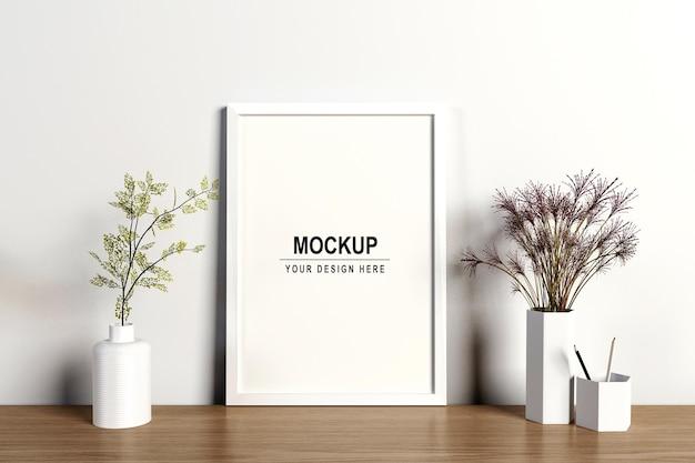 3dレンダリングで花のモックアップデザインとフォトフレーム