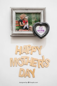 母の日の心臓の写真フレーム