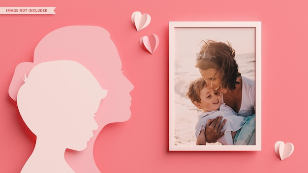 Photo frame with mom and son silhouettes in papercut style for mother's day. 3d rendering